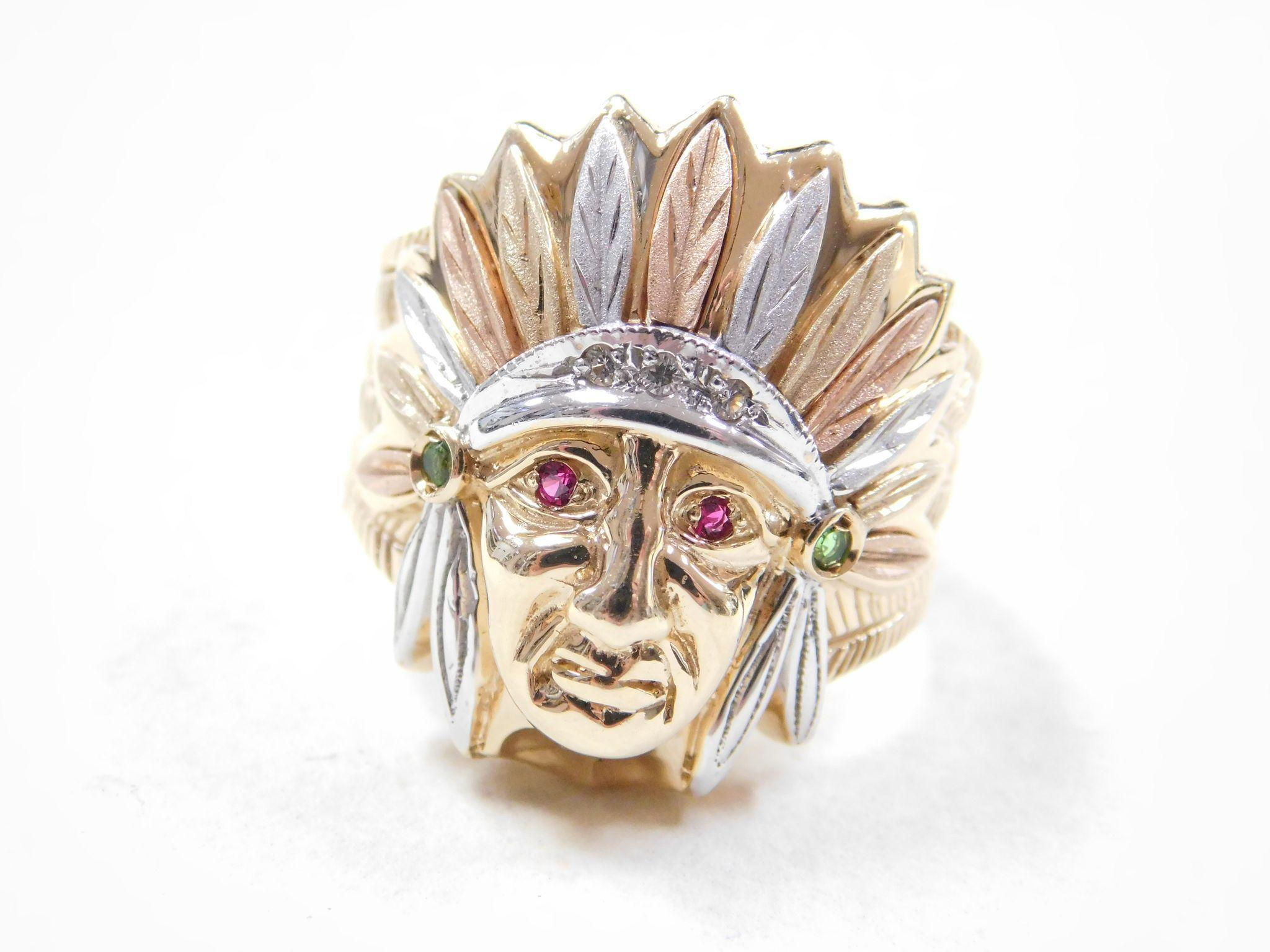 Gents Ring Native American Indian 14k Gold Ruby Accent