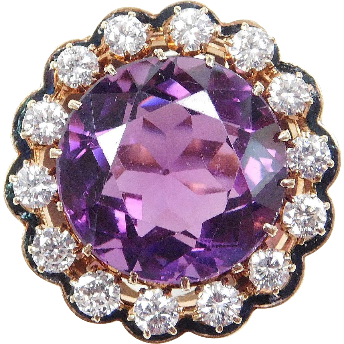 Vintage AMETHYST 25.0 Carat & 2.24 ctw DIAMOND Ring Huge!