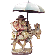 "ANRI / Ferrandiz ""Riding Thru The Rain"" 5 Inch Wood Carving"