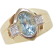 Aquamarine 1.75 Carat RING Diamond Accent 14k Gold