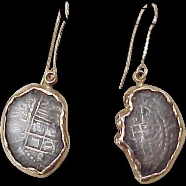 Ship Wreck ATOCHA Coin Earrings 14k Gold Frames With COA