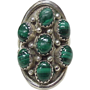 Navajo Ring Sterling Silver & Malachite, James Bahe