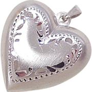 Vintage Sterling Silver Puffed Heart Charm By Beau 1960's