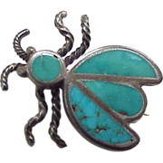 Native American Beetle / Insect PIN Sterling Silver & Turquoise