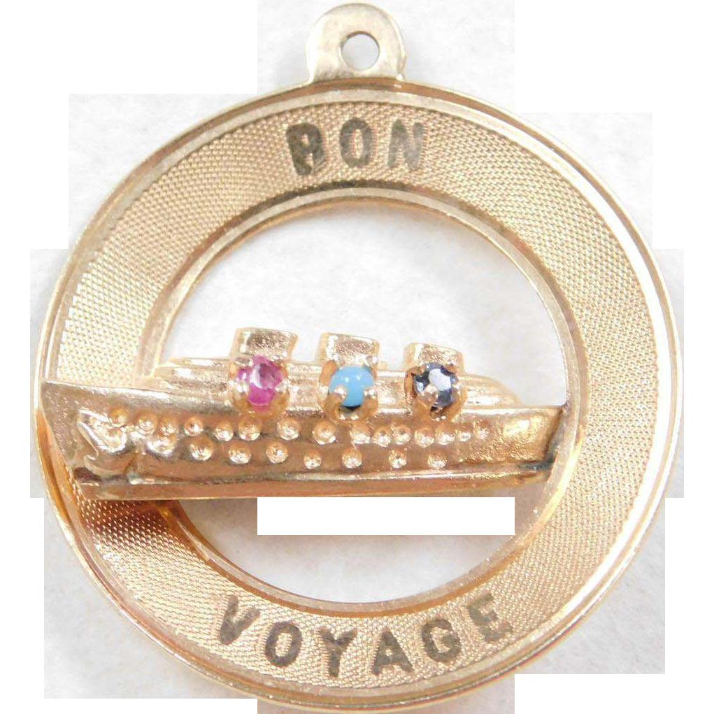 Vintage 14k Gold Travel Cruise Ship Charm Bon Voyage