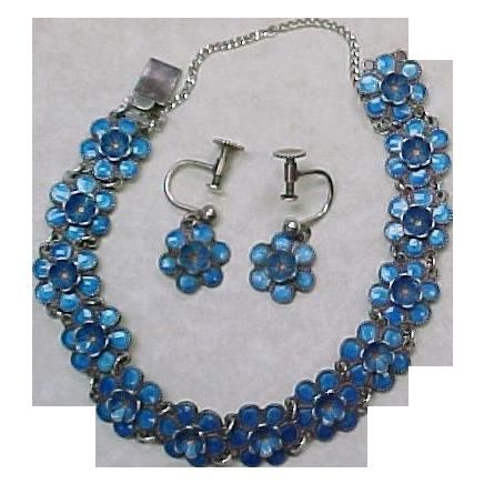 Vintage Danish Bracelet & Earring Set Sterling Silver Guilloche Enamel