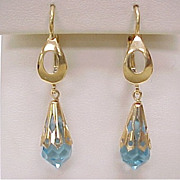 Vintage Dangle Earrings 18k Gold Briolette Cut Blue Topaz