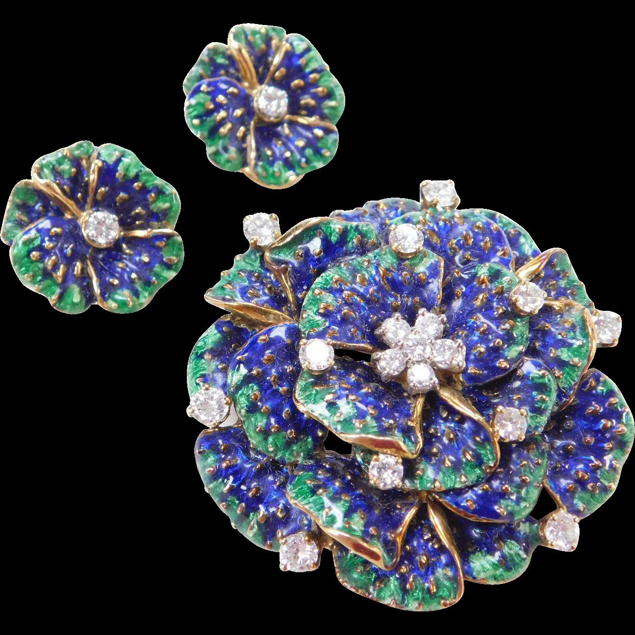 Designer Signed 18k Enameled DIAMOND Brooch & Earrings
