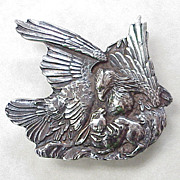 Sterling Silver Belt Buckle ~ Eagle & Rabbit, Predator & Prey