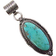 Navajo Pendant Sterling Silver & Turquoise, Billy Slim