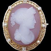 Carnelian Cameo Pendant / Brooch Diamond & Seed Pearl Accent