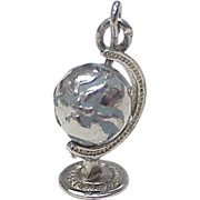 Spinning Globe Enameled Charm Sterling Silver 1960's