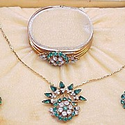 Vintage 1950's Demi Parure In Original Box Rhinestone Gold Tone