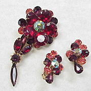 Vintage Earring & Brooch Set ~ Colorful Rhinestone