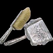 Dutch 833 Silver Silent Butler / Crumb Tray & Brush