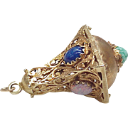 Vintage 14k Gold Large Ornate Charm w/ Czech Glass