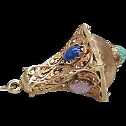 Vintage 14k Gold Large Ornate Charm w/ Czech Glass