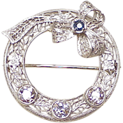 Art Deco Diamond & Sapphire Brooch 14k White Gold