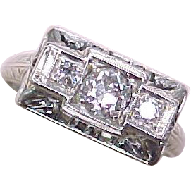Item ID: KA Deco Diam Ring 18k 3 Gem In Shop Backroom