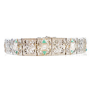 Art Deco Filigree Bracelet 18k White Gold Diamond & Faux Emerald