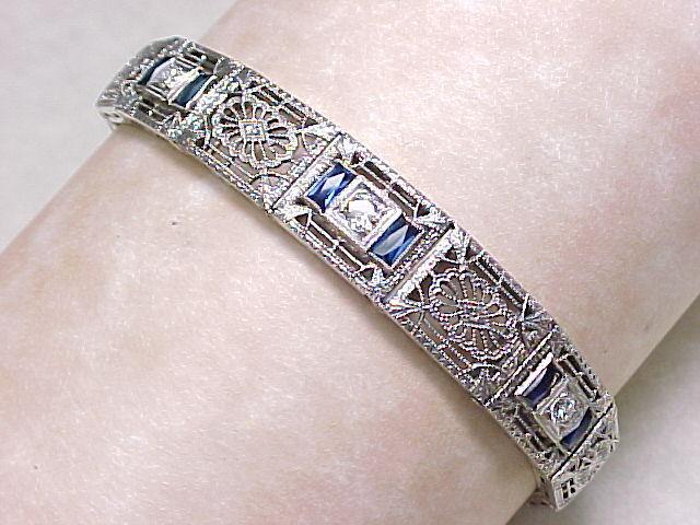 Art Deco Filigree Bracelet Platinum 14k With Diamond Shire Sold Ruby Lane