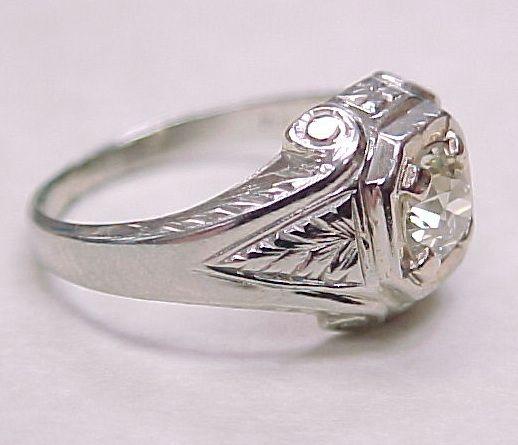 Art Deco Diamond Solitaire Ring 80 Carat VS 20K White Gold from arnoldjewele