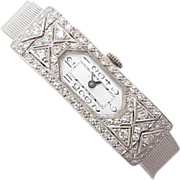 Art Deco Diamond Watch Platinum & 14k White Gold