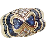 AMAZING Sapphire Heart & Diamond Ring 18k Gold 3.30 Carat Gem Weight