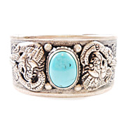 Vintage Chinese DRAGON Cuff Bracelet With Turquoise Accent