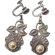 Floral Dangle Screw Back Earrings Faux Pearl & Marcasite