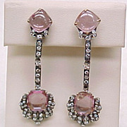 Edwardian Long Dangle Earrings Pink Tourmaline & Diamond