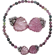 Edwardian Necklace Carved Pink Tourmaline, Diamond & Tourmaline Bead