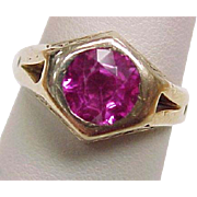 Edwardian Pink Sapphire Ring Hand Crafted 14K Gold