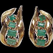 Natural Columbian Emerald Earrings 18k Gold