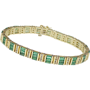 Natural Emerald & Diamond 5.70 ctw Bracelet 14k gold