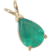 4 Carat Natural Emerald Solitaire Pendant 14k Gold