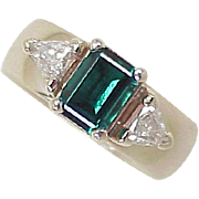 Vintage Ring Emerald & Fancy Trillion Cut Diamond 14k White Gold
