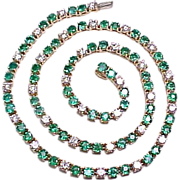 Emerald & Diamond Tennis Necklace 15.50 CARATS 18k Gold