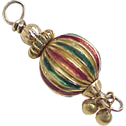 Vintage 18k Gold Charm Ornament Colorful Enamel