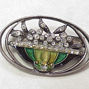 Rhinestone Brooch Fire Glazed Glass Enamel