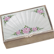 Sterling Silver Trinket Box Floral Guilloche Enamel 1930's, Tomae Company