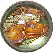 Edwardian EQUESTRIAN Big Essex Glass Brooch