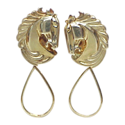 Equestrian / Horse 18k Gold Earrings w/ Detachable Dangle