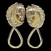 Equestrian / Horse 18k Gold Earrings w/ Detachable Dangle