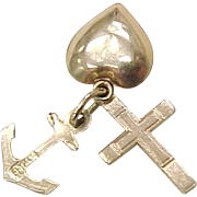Vintage Charms 14k Gold Cross, Anchor & Heart