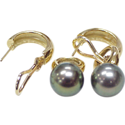Fancy Color 10.8 mm Tahitian Pearl Earrings 18k Gold