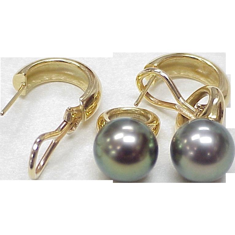 fancy color 10 8 mm tahitian pearl earrings 18k gold from