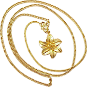 Fine Gold Necklace 9999 Chain & Floral Pendant ~ 14.9 Grams BAHT