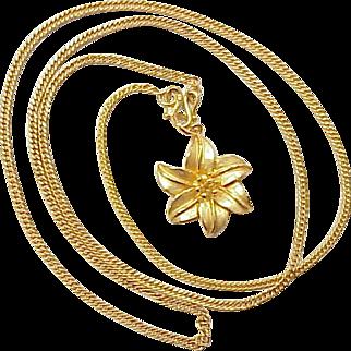 Fine Gold Necklace 9999 Chain & Floral Pendant ~ 14.9 Grams BAHT