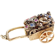 Jeweled Moving Charm ~ Flower Cart, Hand Crafted 1950's